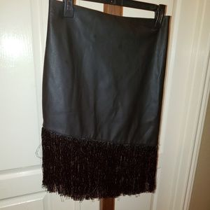 Express Faux leather fringed skirt